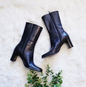 Via Spiga Black Side Zip Heeled short Boots